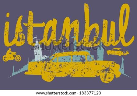 istanbul vintage taxi vector art