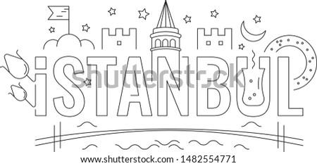 istanbul word. istanbul word concept. istanbul word and symbols