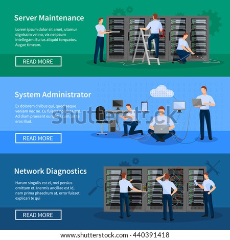 IT administrator horizontal banners with network engineers working in server room for hardware diagnostic flat vector illustration