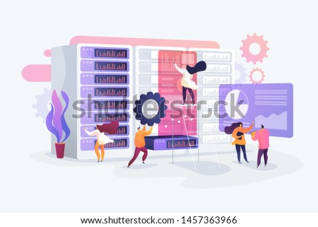 IT administrators working in server room. Service maintenance. System administration, network upkeeping, computer systems configuration concept. Vector isolated concept creative illustration