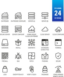 IT and Sysadmin Icons. On-Premise Server. Cloud and Hybrid Solution. Patch, Phishing, Malware and Bug. Network Security, Password, Padlock Home work and Remote Access - Scalable, Mono - Vector Icons
