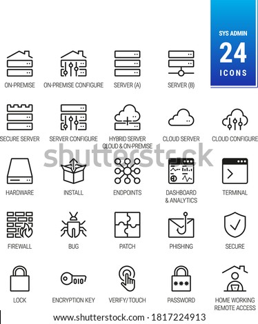 IT and Sysadmin Icons. On-Premise Server. Cloud and Hybrid Solution. Patch, Phishing, Malware and Bug. Network Security, Password, Padlock Home work and Remote Access - Scalable, Mono - Vector Icons Stockfoto ©