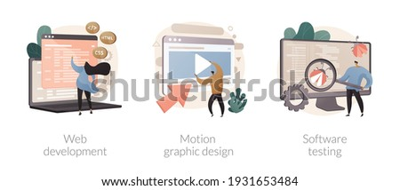 IT company service abstract concept vector illustration set. Web development, motion graphic design, software testing, application coding, UI and UX design, QA team, bug fixing abstract metaphor. Foto stock ©