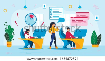 IT Company Time Management Trendy Flat Vector Concept. Employees, Office Workers Team, Software Developers Group in Panic Because of Project Deadline Miss, Lack of Time to Finish Work Illustration