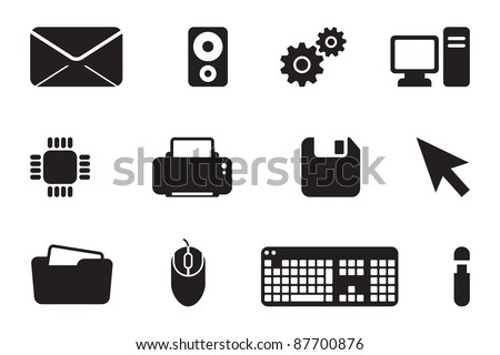 IT developer black computer icon logo set