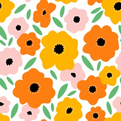 It feels like summer, beautiful bright flowers vector seamless pattern