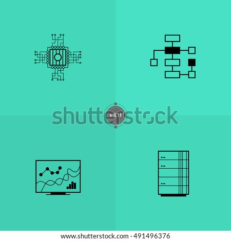 IT icons set. Information technology illustration. Black line pictograms for design. Elements of digital world. Internet things card. Online business banner. Computer symbols pattern. Server concept