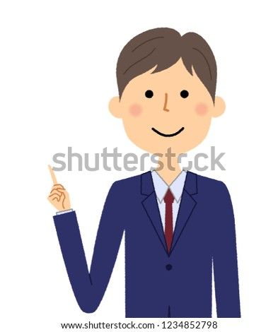It is an illustration of a businessman pointing to a finger.