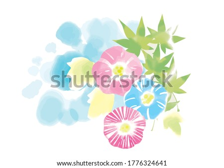 It is an illustration of morning glory and wind chimes like watercolor Stock photo ©