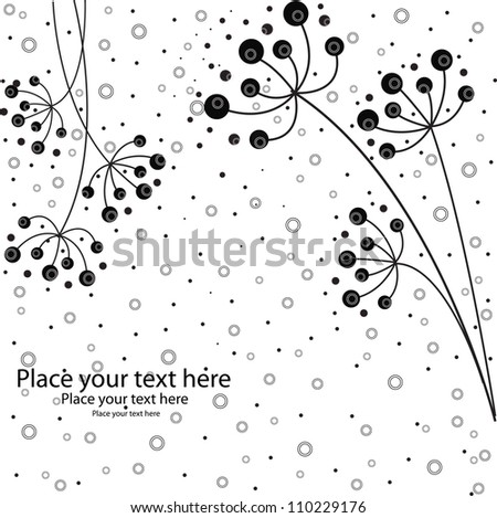 It is black white flowers on a white background with circles