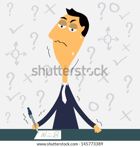 It is difficult to make decision!  Vector illustration.