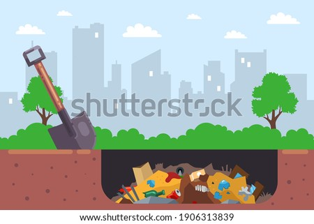 it is illegal to bury city garbage in a pit. flat vector illustration. Foto stock ©