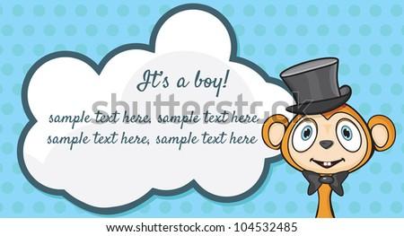 It's A Boy! Arrival announcement card