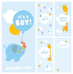 it's a boy, baby shower and welcome cards