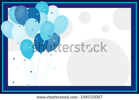 It's a Boy - frame with Balloons and dots for Baby Shower announcement