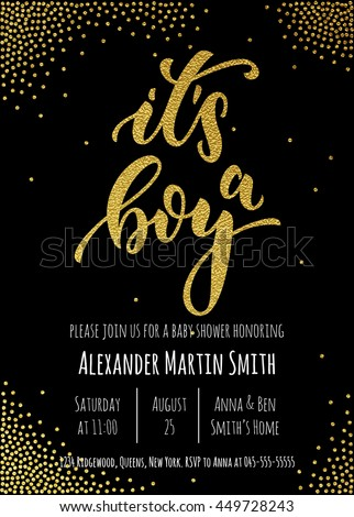 its a boy invitation party card template hand drawn golden calligraphy classic lettering baby