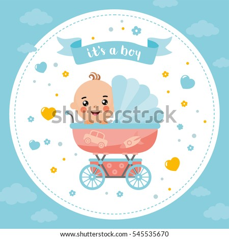 It's a Boy shower card. Invitation template with cute baby in a buggy. Labels with letters and kids illustration.