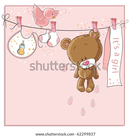 It's a girl baby announcement card raster version also available