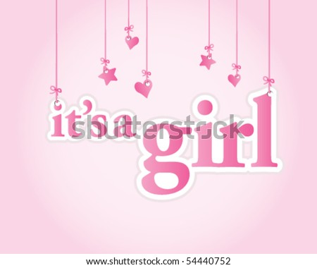 baby girl images for baby shower. stock vector : It's a girl. Baby shower celebration.