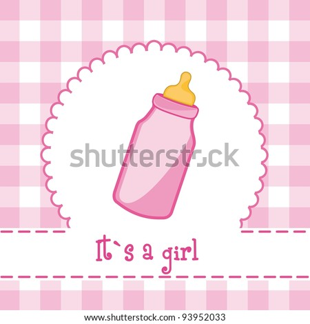 it?s a girl card with bottle baby, baby shower. vector illustration