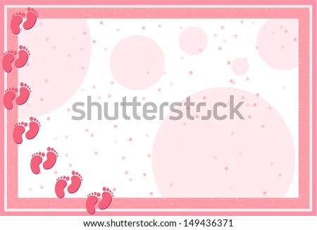 It's a Girl-Pastel frame with baby feet, dots and confetti for Baby Shower announcement