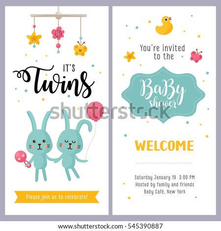 Its a twins baby shower card set invitation template with hand lettering and cute