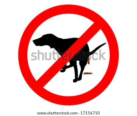 It`s forbidden for dogs to take a dump