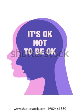 It's ok not to be ok. Motivational Posters quote abstract concept illustration. mental health inspiration. Vector.  Stock fotó ©