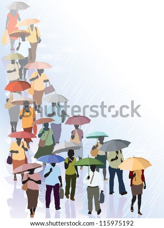 It's raining, crowd of people walking on a street - stock vector