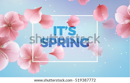 It's Spring card, blue background for banner, poster. Vector illustration with pink petals.