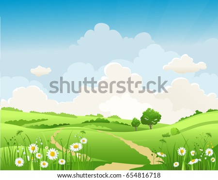 It's summer time. Summer or spring landscape for design banner, ticket, leaflet, card, poster and so on. Green grass and flowers scenery. #654816718