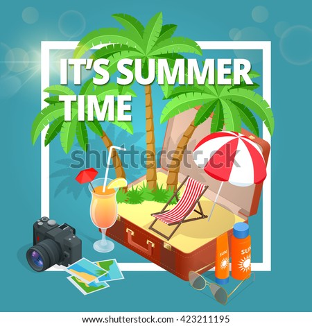 It's Summer time.  Summer party concept. Fun, party, background, vector, picture, art, image, design, travel, poster, event