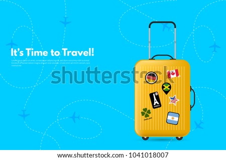 It's Time to Travel.Travel bag, Suitcase with stickers. Travel to World. Vacation. Road trip. Tourism. Travel banner. Journey. Travelling illustration. Modern flat design. EPS 10. Colorful.