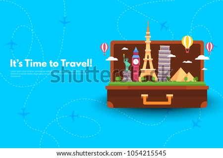 It's Time to Travel.Trip to World. Travel to World. Vacation. Road trip. Tourism. Travel banner. Open suitcase with landmarks. Journey. Travelling illustration. Modern flat design. EPS 10. Colorful.