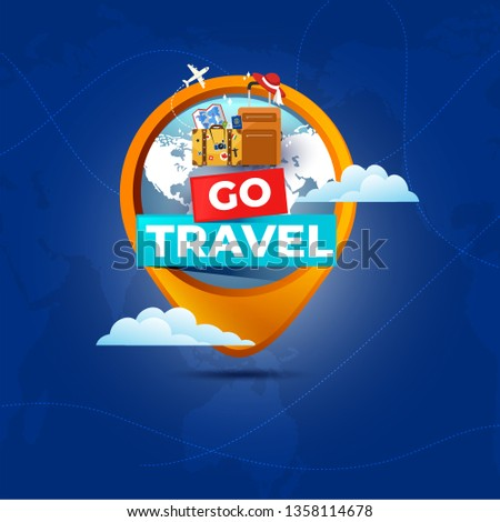 It's Time to Travel.Trip to World. Travel to World. Vacation. Road trip. Tourism. Travel banner.Modern flat design. EPS 10. Colorful.