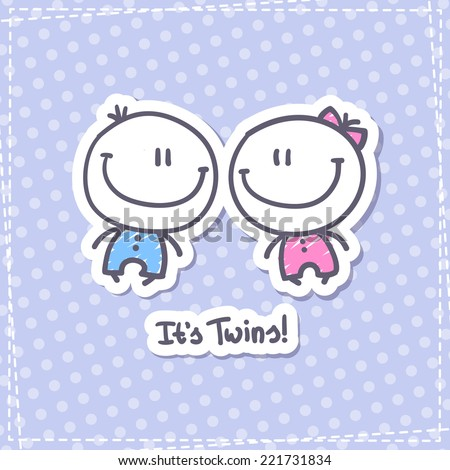 it\'s twins, vector hand drawn babies with text