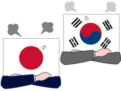 It shows the state of diplomacy between countries.It is the relationship between Japan and Korea.