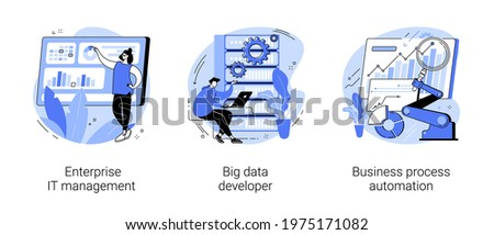 IT software solutions abstract concept vector illustrations.