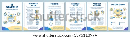 IT startup brochure template layout. Start new business stages. Flyer, booklet, leaflet print design with linear illustrations. Vector page layouts for magazines, annual reports, advertising posters