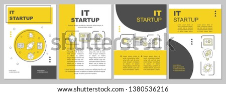 IT startup brochure template layout. Starting new business. Flyer, booklet, leaflet print design with linear illustrations. Vector page layouts for magazines, annual reports, advertising posters