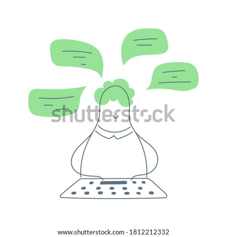IT Support, Online sales, Social Media Manager. Writing a message concept. The cute cartoon guy is typing a message, chatting with someone, communicates in social networks or through a messenger