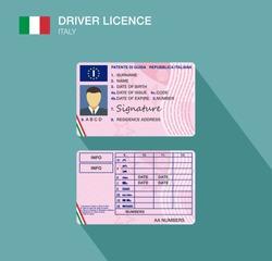 Italian car driver license identification. Flat vector illustration. Italy.
