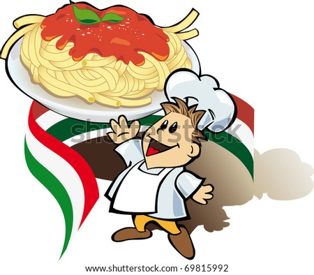 Italian chef cook with giant spaghetti plate