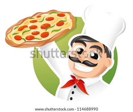 Italian chef presenting a freshly baked pizza