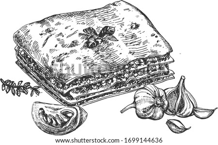 Italian cuisine delicious homemade restaurant food. Lasagna in a vintage hand drawn engraving etching style.
