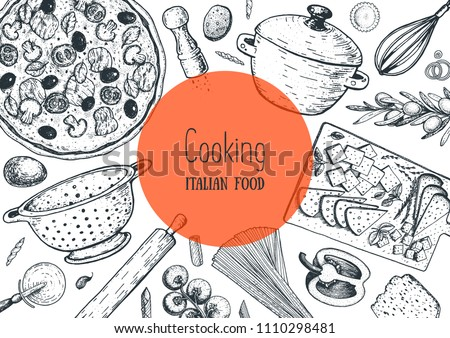 Italian cuisine hand drawn illustration. Italian food cooking frame. Sketch vector illustration. Cooking pasta and pizza.