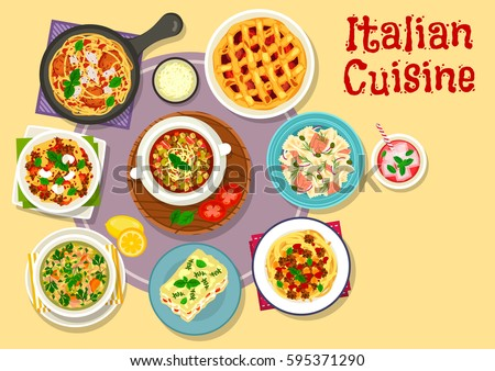 Italian cuisine lunch with dessert icon of pasta with bacon meat sauce, salmon pasta, chicken lasagna with cheese cream, spaghetti with meat ball and chickpea sauce, plum pie, pumpkin and lentil soup