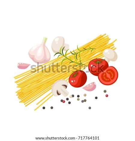 Italian cuisine. Pasta spaghetti, mushrooms, tomatoes, garlic, peppercorn. Vector illustration cartoon flat icon isolated on white.