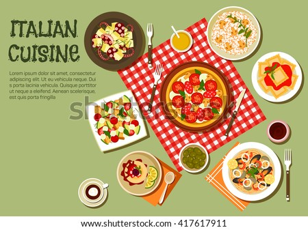 italian cuisine pizza  ravioli