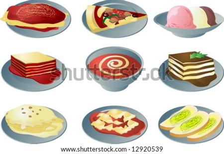 Italian cuisine: spaghetti, pizza, lasagna, soup, fettuccine, ravioli ...